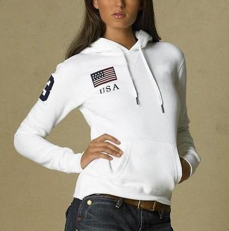 Femmes Élégantes Polo Hoodies USA France Italie Pays Drapeau Jogging Sweat Avec Cheval De Sport Manteaux Veste À Capuche S-XL