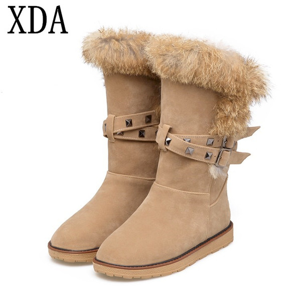 XDA 2018 Big size 35-43 Winter women boots Flats Rabbit hair Rivets Warm fur boots Snow Round head Plush snow W744