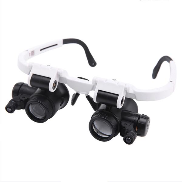 Diadema Gafas Lupa Lupa Doble Luz LED 8X 15X 23X Lupa Iluminada Reloj Reparación Lámpara Grabado y reparación