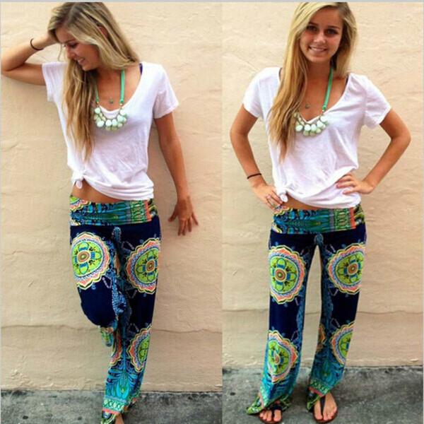 Floral Casual Wide Leg Long Harem Pants High Waist Loose Elastic Waist Palazzo Trousers Plus Size New Beach Pants