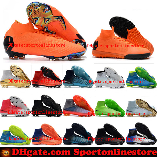 Acquista 2018 Scarpe Da Calcio Mercurial Superfly VI V 360 Elite FG Bambini Tacchetti Da Calcio Indoor Ragazzi Gioventù Cr7 Crampons De Scarpe Da