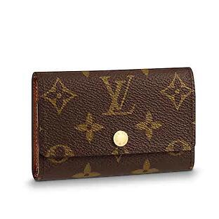 2019 M62630 6 KEY HOLDER old flower brown Real Caviar Lambskin Chain Flap Bag LONG CHAIN WALLETS KEY CARD HOLDERS PURSE CLUTCHES EVENING