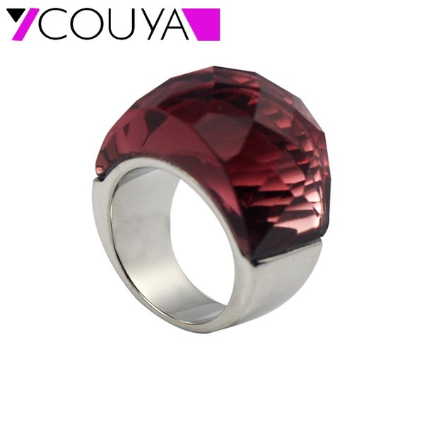 Fashion Jewelry Rings COUYA Luxury Cocktail Ring Glass Gem Stone Rings Fire Mystic Big Ring for Women Silver Vintage Fashion Jewelry