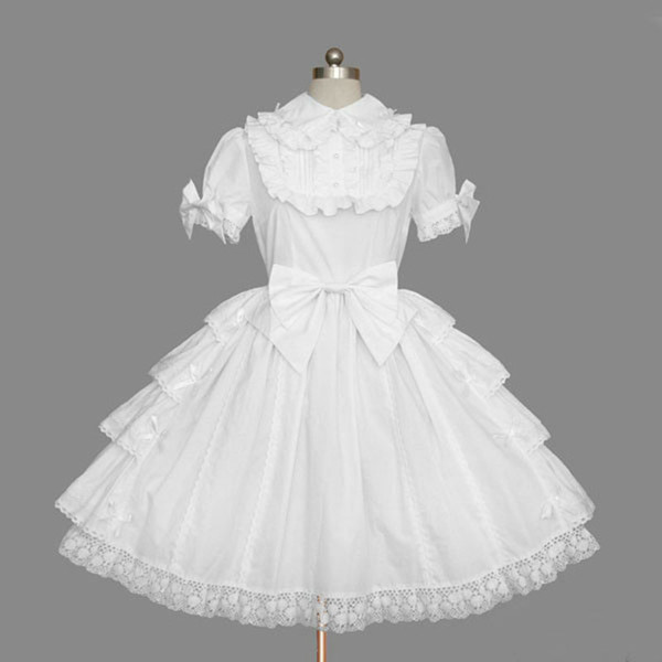 White Short Sleeve Classic Gothic Style Lolita Dresses Retro cotton Bow Princess Dress For Women