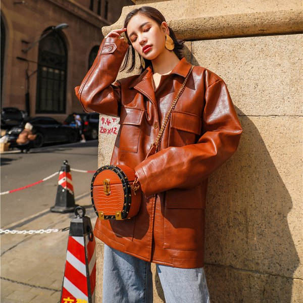 2018 New Fashion Women Autumn Soft Faux Leather Sashes Jackets Lady Motorcycle Pockets Biker Coffee Coats Outerwear Hot Sale