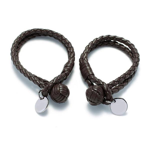 Italy Brand Braided Leather Bracelets Fashion Unisex Cuff Wristbands Luxury Titanium Steel Hanging Ornament Bracelet Lover Gift