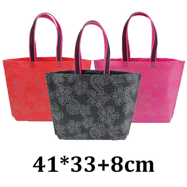 41x33cm wholesahle fashion eco friendly printed lace non woven shopping supermarket garment clothes handle tote bag