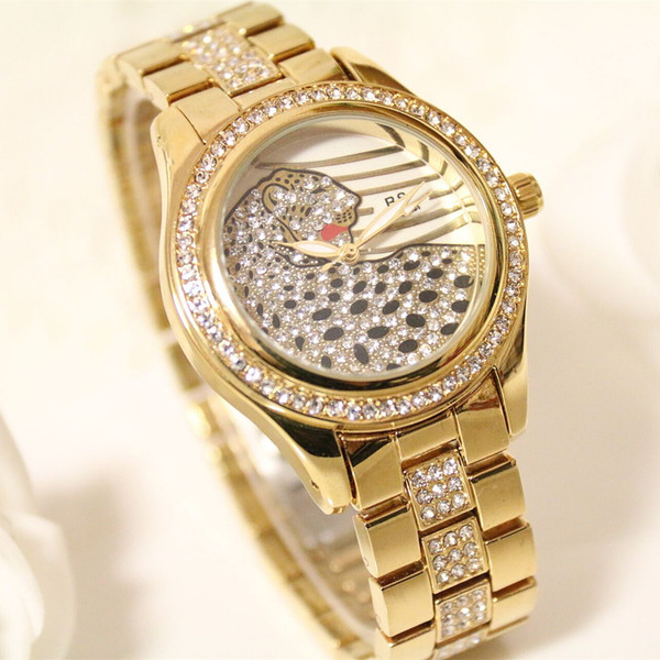 hot sell BS Brand fashion Lady rhinestone leopard Watch crystal Luxury Quartz Wrist Watch women Clock Relogio Feminino dropship 02