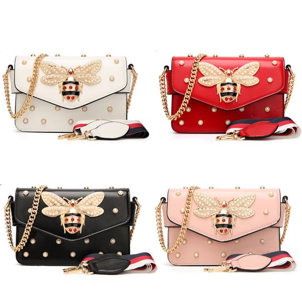 Fashion Women Messenger Bag New Brand Pu Leather Female Shoulder Bag Luxury Diamond Little Bee Woman Handbags Strap Bags Pink Red