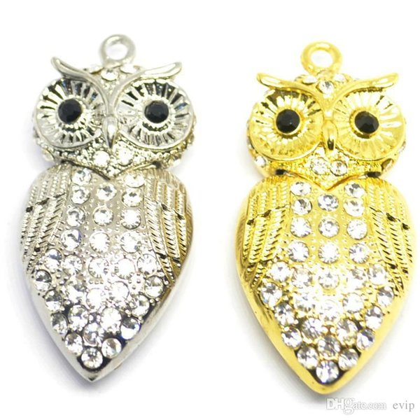 Retail Bling bling crystal OWL Usb Flash Drive Pretty pendant necklace Pen Drive USB flash 2GB-64GB Gift Usb Drives & Storages top quality