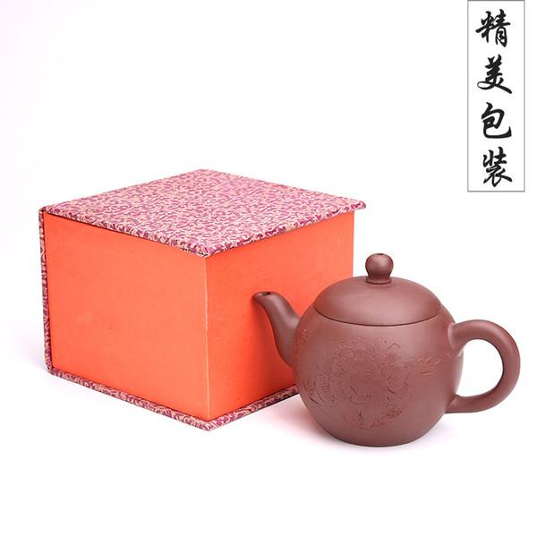 270CC Schönheit schulter teekanne hand carving pfingstrose lila ton kele kung fu drink