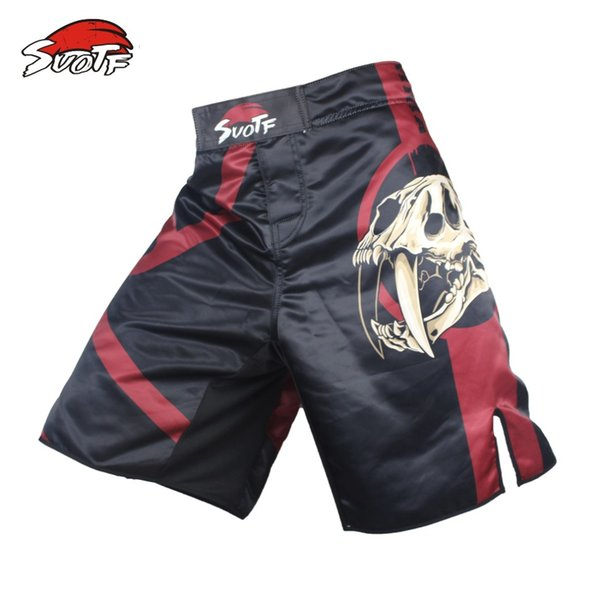 Suotf Black Skull Fear Fierce Fighting Breathable Fitness Boxing Pants Tiger Muay Thai Mma Kickboxing Mma Boxing Shorts Men Cheap