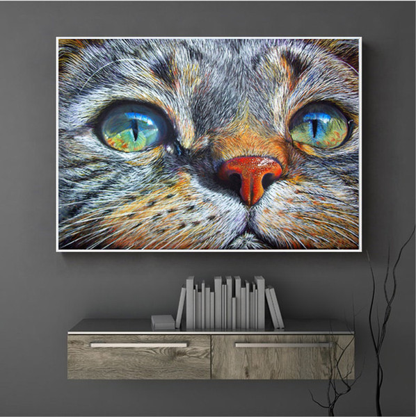 Wholesale 40*30cm Thinking Cat 100% Full 5D Diamond Painting Kit Decoración Del Hog Home Decor Wall Art Square Diamond Craft Supplies