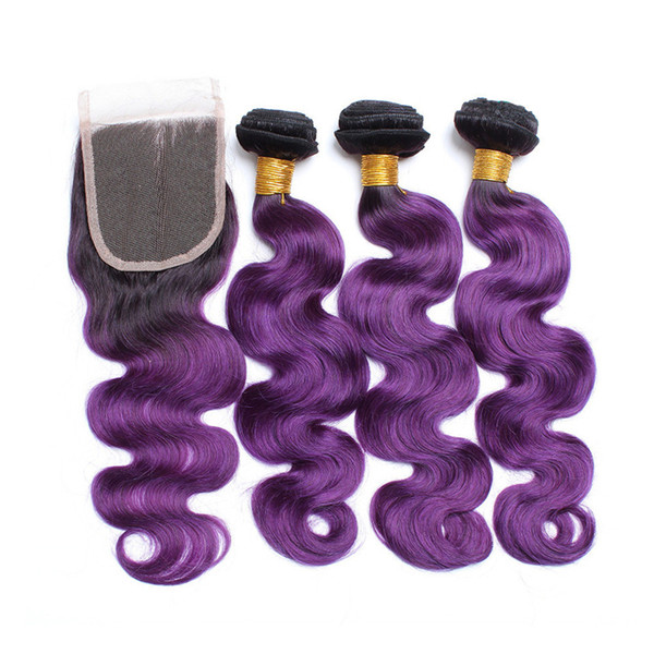 Brazilian Body Wave 3 Bundles Virgin Hair Weaves With Closure 4x4 Ombre Color #1B Purple Hair Weft With Lace Closure 4Pcs Lot