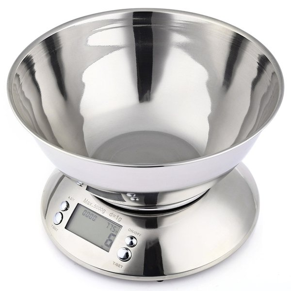 5kg 1g Electronic Kitchen Scale Stainless Steel Digital Weight Scale Bowl High Precision Capacity Alarm Timer Temperature Sensor