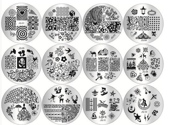 Großhandel 10 teile / los Maniküre druckschablone nagel stempelplatten DIY blau film nail printing stanzen schablone