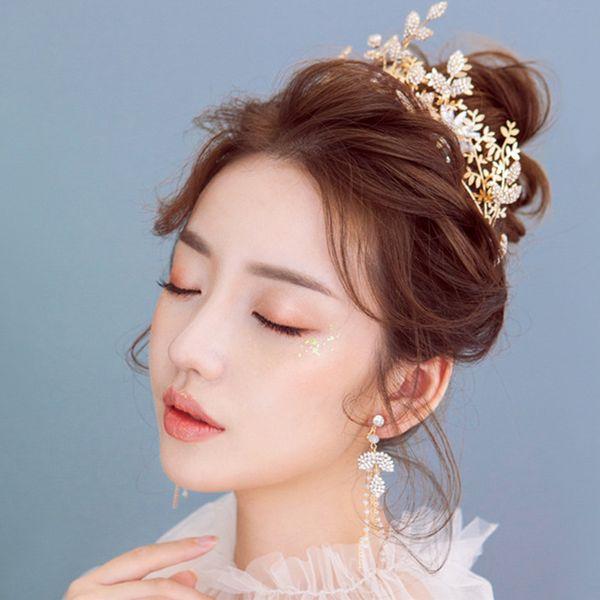 Cristalli abbaglianti Fascia da sposa con decorazioni in oro Accessori per capelli donna con spille per capelli Orecchini lunghi per nuziale -72