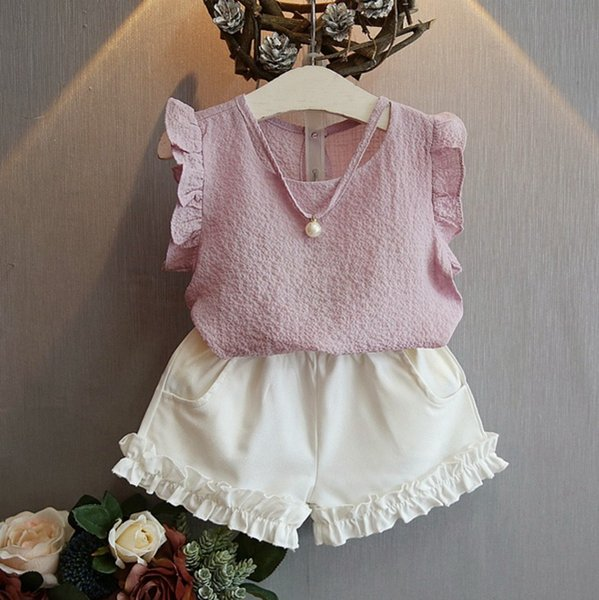 New children girls outfits baby girls Chiffon top+ Short 2pcs/set kids girls summer clothes suit child pearl chiffon clothing