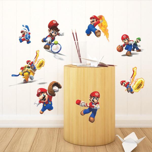 % Cartoon Mario Stickers Muraux pour Enfants Chambres Jouer Basketball Sport Stickers Muraux Décor À La Maison Art Affiche Papier Peint Garçon Chambre Décor