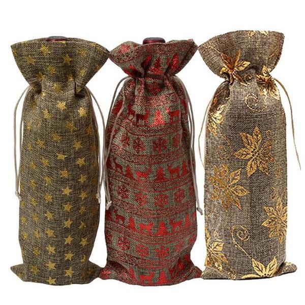 Sac De Bouteille De Vin De Jute Couvre Champagne Aveugle Emballage Cadeau Cadeau Sacs Rustique Hesse Dîner De Mariage De Noël Décorer CCA10558 300pcs