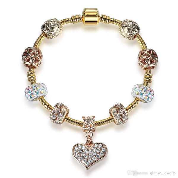 Rose Gold Heart Charm Cubic Zirconia Bracelet Bangle for Women Fashion Jewelry Original Bracelet for Women Christmas Valentine Gift