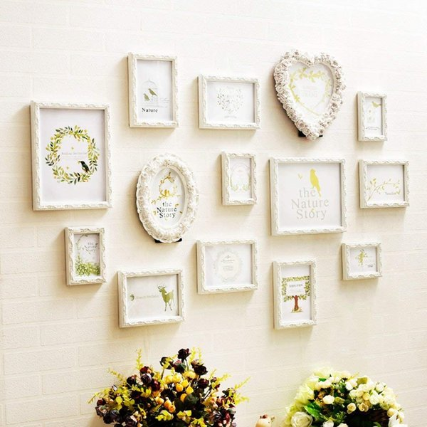Irregular White Wood Frame, Heart-shaped, Oval (2 Can Be Placed), Rectangular 12