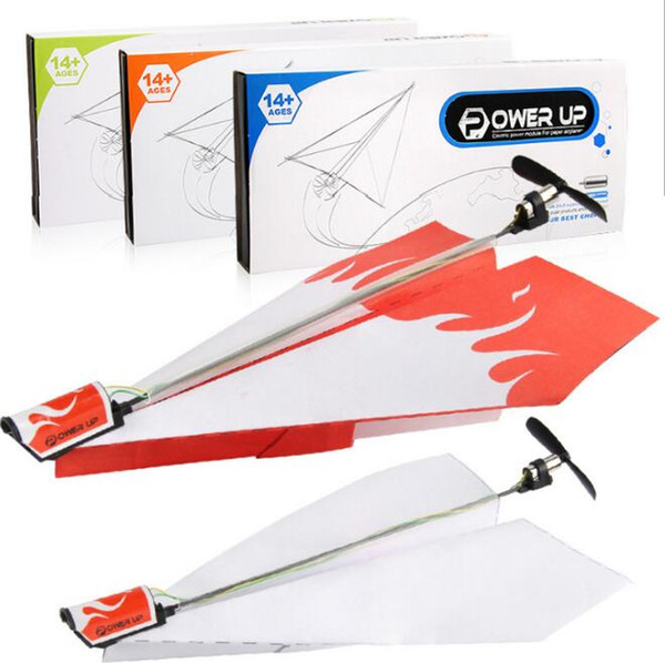 Nuovo Motor Electric Power Up Paper Plane Chidren DIY Educativo Pieghevole Power Plane Genitore-bambino Giocattoli aereo