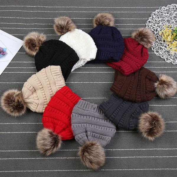 best selling Kids Winter Knitted Hat with Pom Pom Casual Skullies Beanies Girls Warm Caps for Children Beanie Outdoor Hats KKA3780