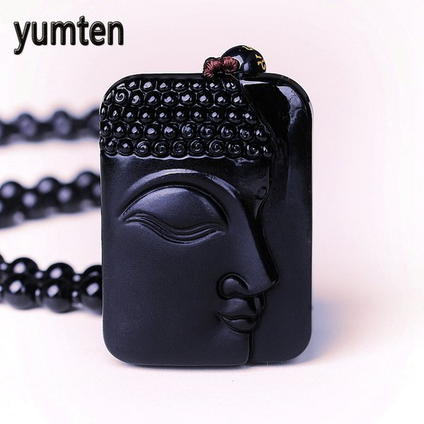 Yumten Natural Obsidian Buddha Head Amulet Pendant Necklace For Women Men Bouddha Pendentif Blessing Lucky Jewelry Carved Gems
