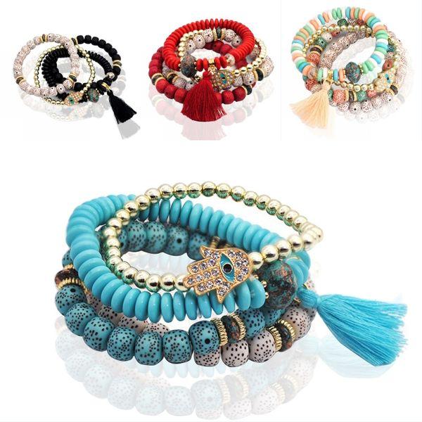 Fashion Bracelets Fatima Hand Blue Evil Eye Charm Bracelets Tassel Bangles Multilayer Wooden Beads Women Support FBA Drop Shipping H220F