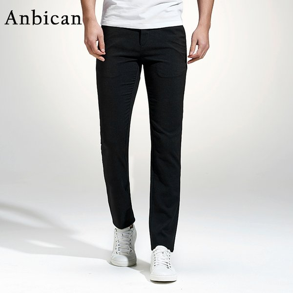 Anbican 2017 Fashion Black Casual Pants Men Spring and Summer Straight Pockets Chino Pants Full Length Slim Fit Mens Dress