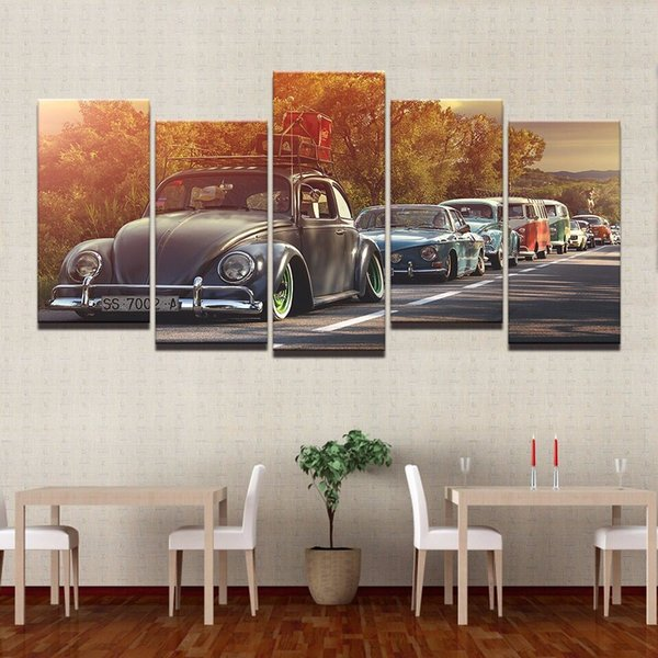 Modern Home Wall Art Decor Frame Pictures HD Prints 5 Pieces Volkswagen Beetle Car Painting On Canvas Retro Sunset Poster PENGDA Y18102209