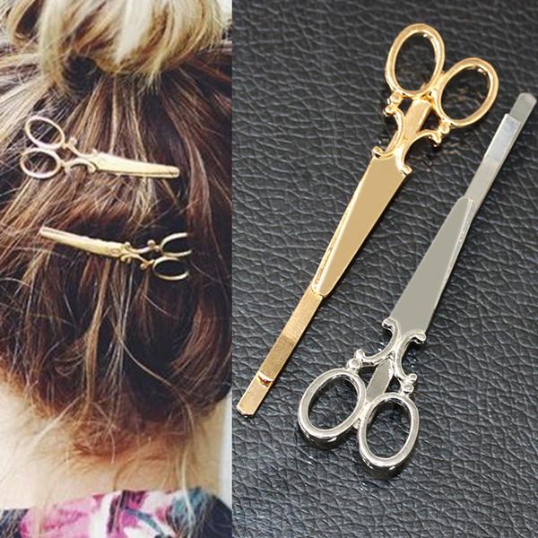 TS405 прохладный простой глава ювелирные изделия волос Pin Золотые ножницы Ножницы клип для волос тиара заколки аксессуары головной убор для девушки женщины