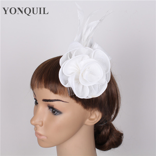 New arrival DIY hair party fascinators hat with feather fascinator party hair clip decoration white bridal wedding cocktail headwear SYF58
