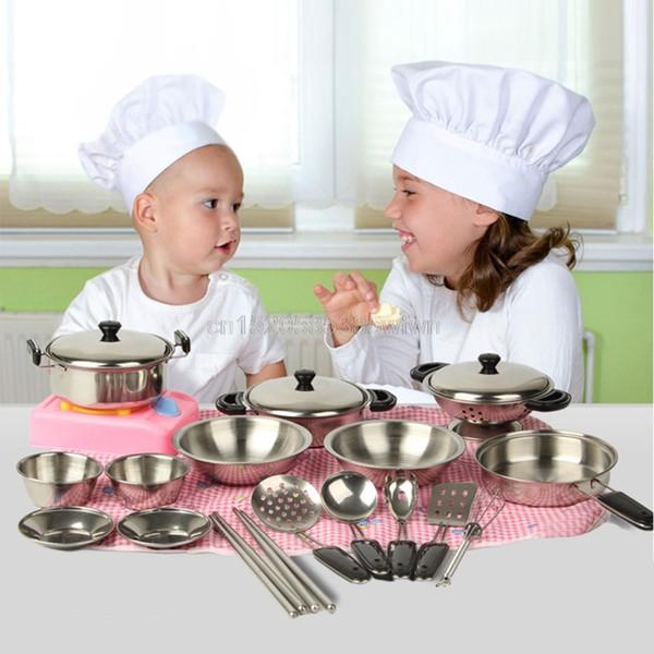 Edelstahl-Topf-Wannen-Kochgeschirr-Miniaturspielzeug täuschen Spiel-Geschenk für Tropfenverschiffen des Kind-20pcs # HC6U # vor