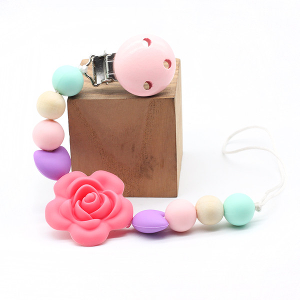4 colors Personalised Flowers Baby Silicone Teether Pacifier Clip Holder Chew Toy BPA Free Teething Safe Baby Shower Gift