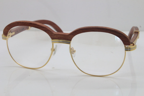 top popular Free Shipping Gold Wood Eyewear 1116443 Eyeglasses men Carved Wood Trimming Lens Glasses women Transparent lens Decor Wood frame Glasses 2021