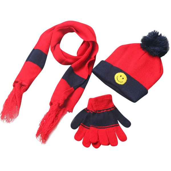3PCS/Sets Fashion Winter Boys Girls Smile Pattern Hats Neck Keep Warm Scarves Gloves Sets Children Casual Knitted Hat Scarf