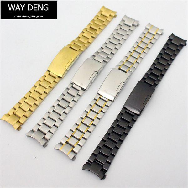 Way Deng - Women Men Stainless Steel Watchbands Multi-colors Arc End Connector Watch Band Strap Bracelet 18/20/22 MM - Y071
