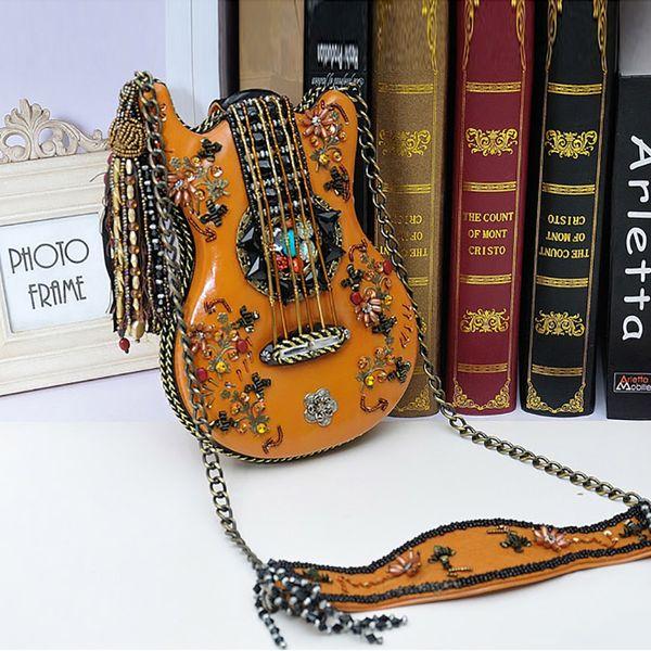 Bolsas Feminina Polyester Hard Real Bolsos Mujer 2018 New Retro Ethnic Style Handbag Luxury Handmade Beaded Personalized Violin