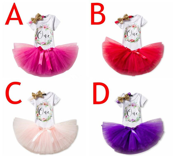 "Gilrs ""One"" Birthday 3pcs set Infant white rompers & sequin tutu skirt & baby flower headband 3pcs outfit"