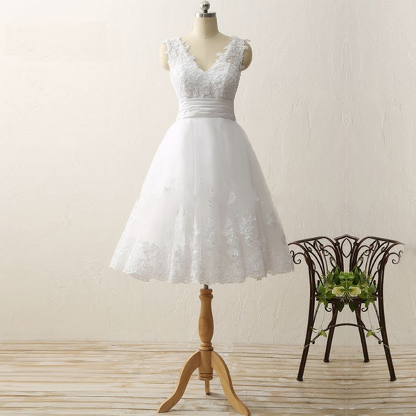 New Arrival Short Sleeves Scoop Neck Cheap Vintage Lace Wedding Dress Aline Short Beach Bridal Gowns Robe De Mariage RLL031