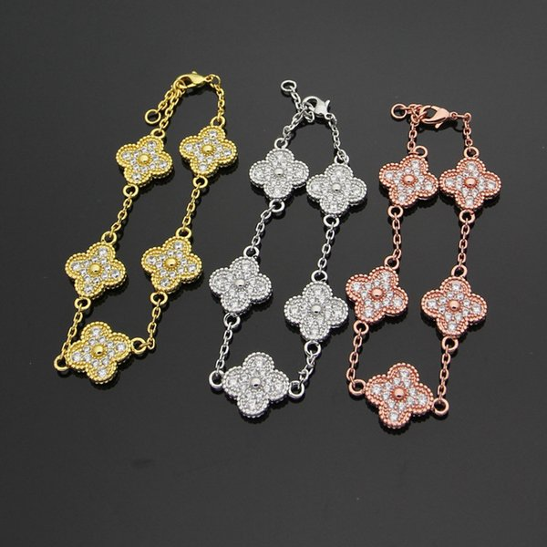 best selling Wholesale Five flower four leaf flowers full sky star CZ Bracelet & bangles for women brand fashion charms jewelry gift