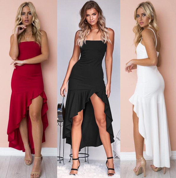 Best selling new women's evening dress formal occasions fashion sexy straps tube top ruffled skirts hips tight party party dress beach skirt