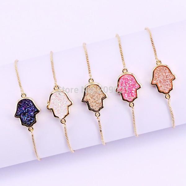 10Pcs Multi Color Titanium Quartz Stone Hamsa Hand Connector Bracelets Jewelry Adjustable Gold Chain Bracelet for Women