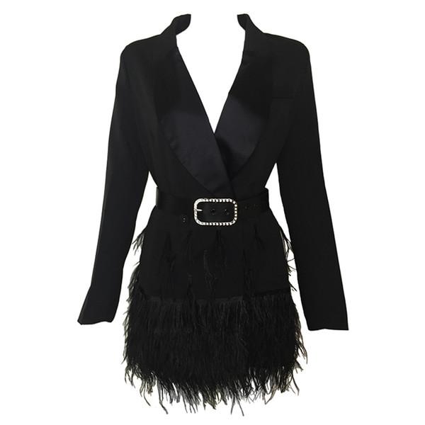 2017 Новая Мода Женщины Куртки Черные Перья С Длинными Рукавами Знаменитости Женщины Элегантный Куртка С Поясом