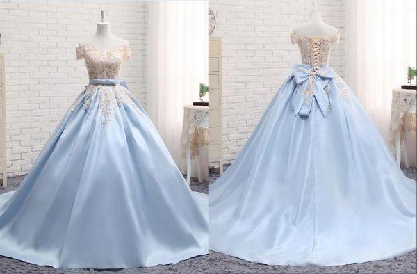 Hell Sky Blue Ballkleid Sweet 16 Kleider aus der Schulter Satin Applique Spitze mit Kurzarm Korsett Quinceanera Kleid Prom Dresses