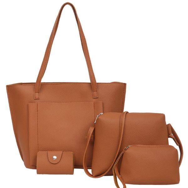 4 Set Bolso Mujer Negro Fashion Hobos Women Bag Ladies Brand Leather Handbags Spring Casual Tote Bag Big Shoulder Bags For women