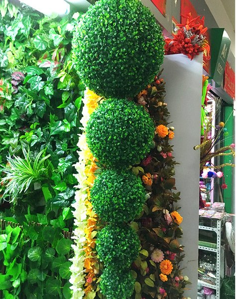 2pcs Artificial Plants Grasses Ball Fake Plants Flowers Decorations Milan Grass Ball Road for Home Garden Outdoor Indoor Office Decorations