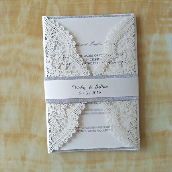 50pc Luxury Ivory Glitter Wedding Invitations with Belt Elegant Party Invites Birthday Invitation Card+Envelope Wedding Supplies